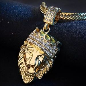 Golden Lion 🦁 Crystal Chain Pendant Necklace New